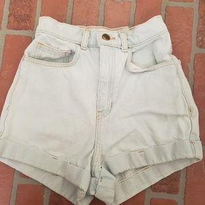 American Apparel Light Washed HR Jean Shorts